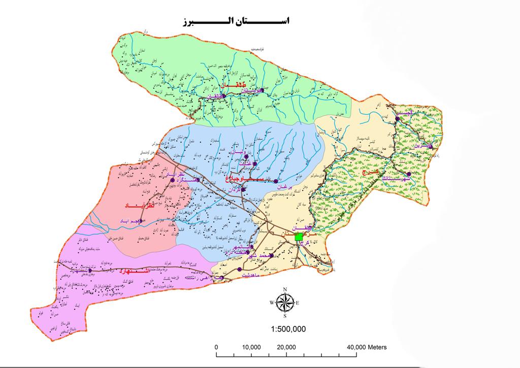 نقشه استان البرز(کرج)