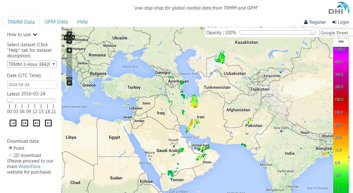 لینک مفید: بررسی آنلاین داده های بارشی ماهواره TRMM